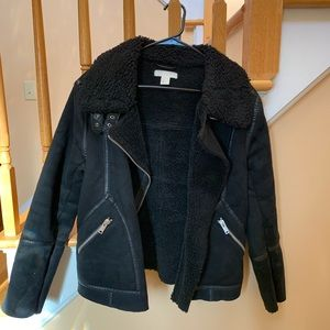 H&M Shearling Moto Biker Jacket